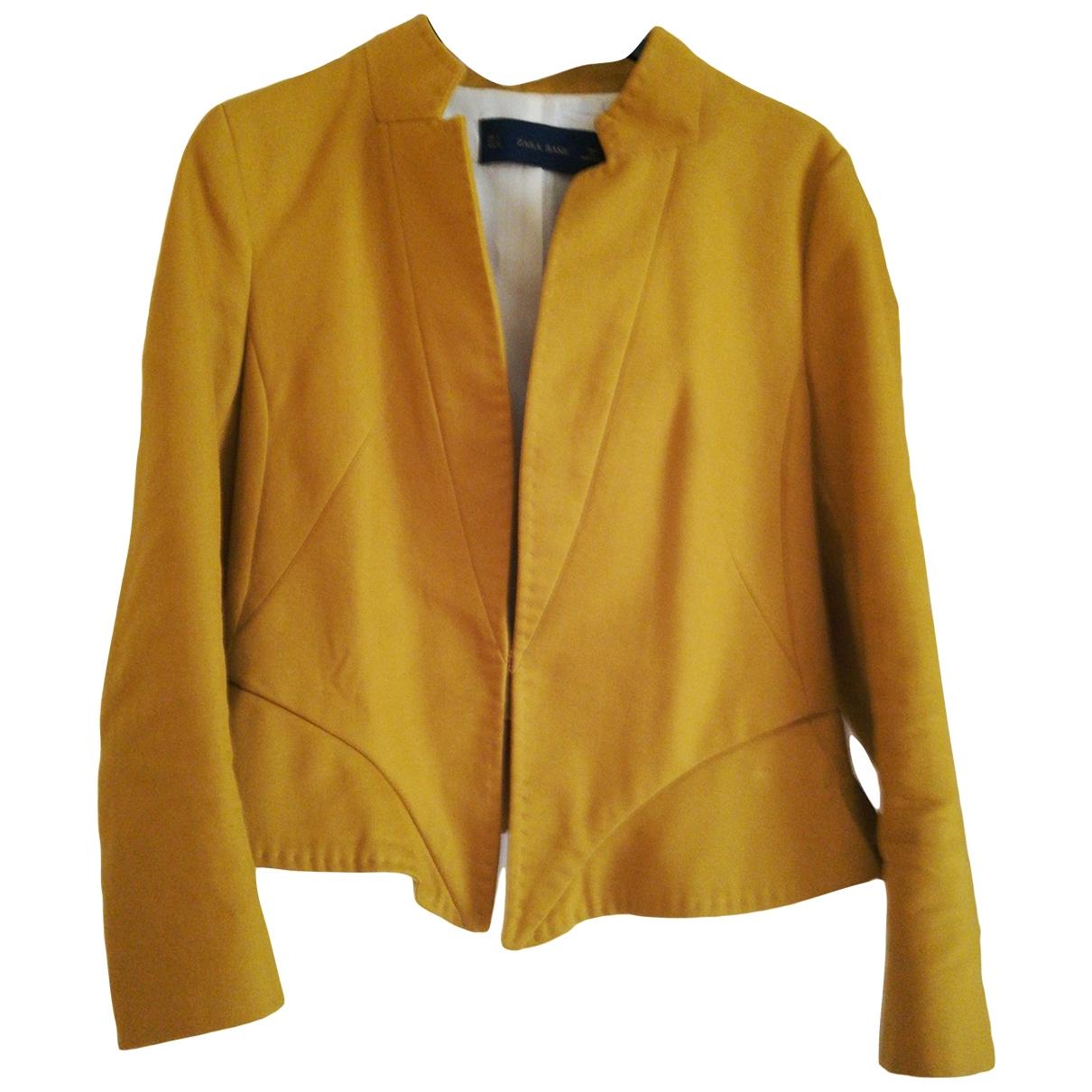 Zara - Veste   pour femme en coton - jaune