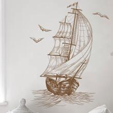 Sailboat & Bird Print Wall Sticker