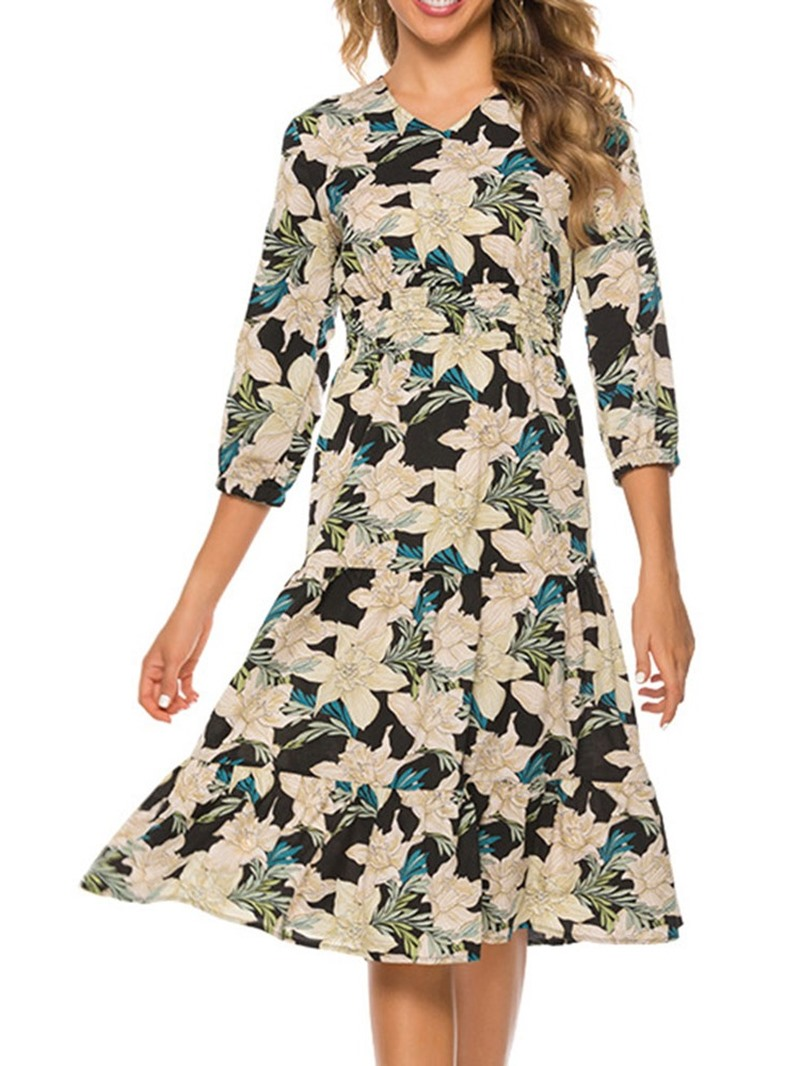Ericdress Chiffon Print Three-Quarter Sleeve V-Neck Regular Dress