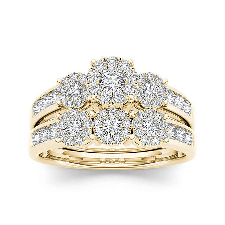 3/4 CT. T.W. Diamond Cluster 10K Yellow Gold Bridal Ring Set, 7 1/2 , No Color Family