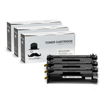 Compatible HP 26A CF226A Black LaserJet Toner Cartridge by Moustache, 3 Pack