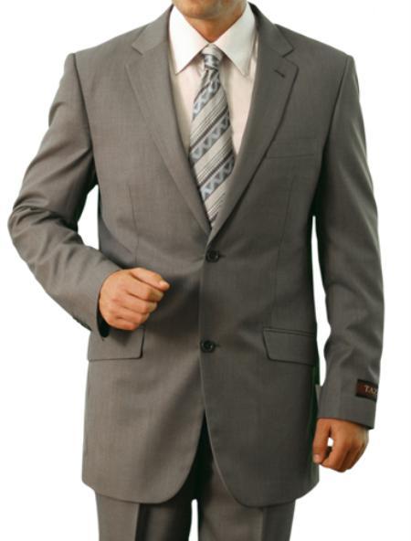 2 Button Light Grey Front Closure Notch Lapel Slim Suit Mens Cheap
