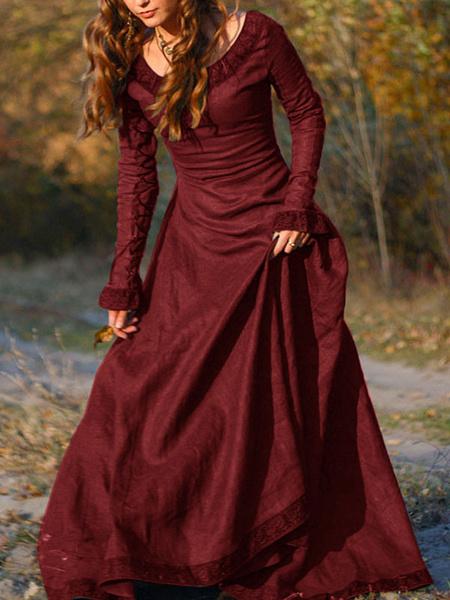 Milanoo Vestido vintage medieval Vestido de oscilacion de mangas largas en capas marron Disfraz de Cosplay Halloween