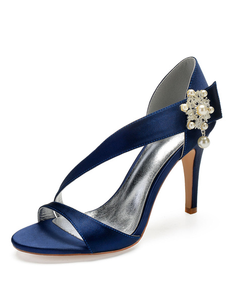 Milanoo Satin Wedding Shoes Champagne Open Toe Pearls Strappy Bridesmaid Shoes High Heel Bridal Shoes