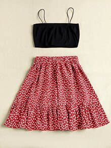 Crop Cami Top & Belted Ditsy Floral Skirt