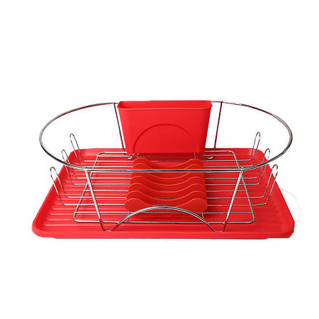 MegaChef 17 Inch Red and Silver Dish Rack with Detachable Utensil holder and a 6 Attachable Plate Positioner, One Size , Silver