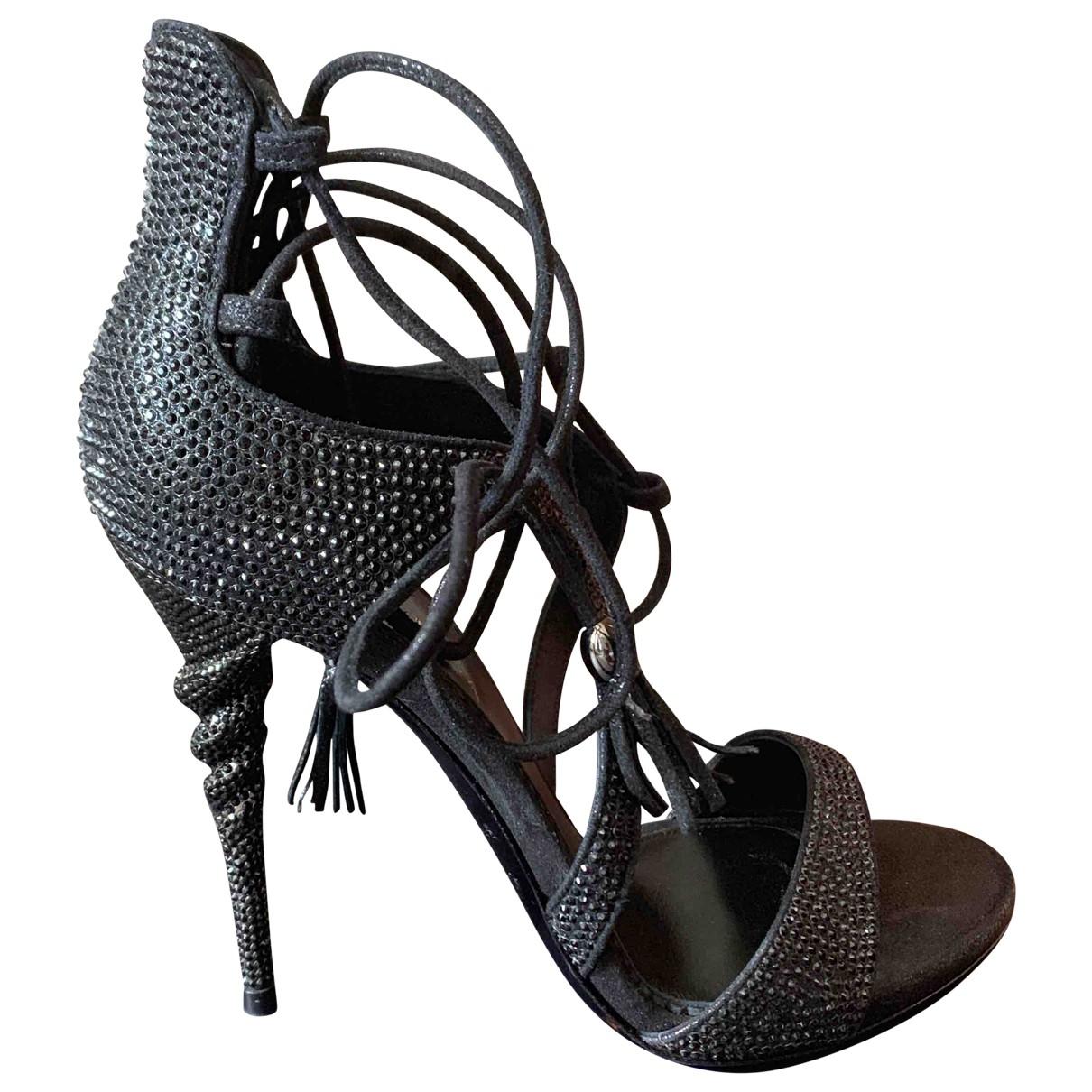 Le Silla \N Black Glitter Sandals for Women 38 EU