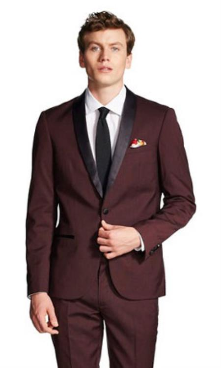Mens Slim Fit With Front Button Shawl Collar Tuxedo Jacket Burgundy