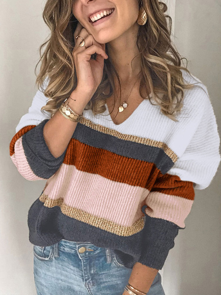 Milanoo Pullovers For Women Brown V-Neck Long Sleeves Striped Sweaters
