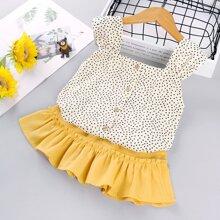 Toddler Girls Polka Dot Blouse With Ruffle Hem Skirt