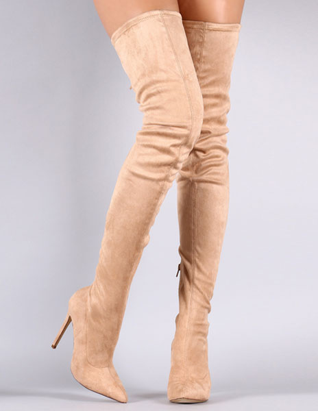 Milanoo Tight High Boots 2020 Over Knee High Heel Boots Black Women Suede Boots