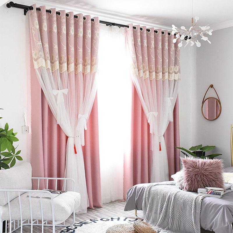 Princess Embroidery Flora Blackout Custom Curtain Sets for Living Room Bedroom 84W 84L 2 Panel Set