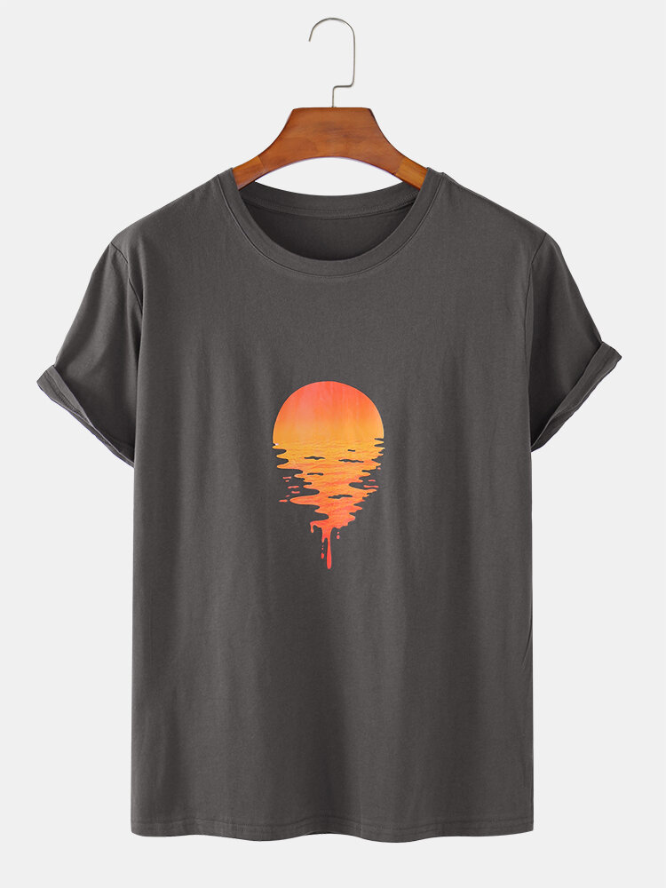 Mens 100% Cotton Sunrise Print Solid Color Breathable Loose O-Neck T-Shirts