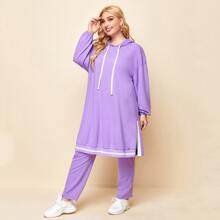 Plus Drop Shoulder Split Side Striped Hem Hoodie & Sweatpants Set