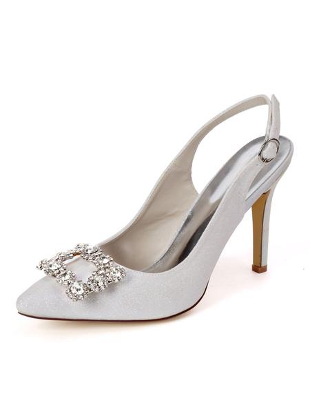 Milanoo Zapatos de tacon alto para mujer Zapatos de noche de fiesta con diamantes de imitacion en punta