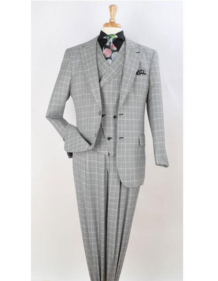 Leg pleated pants  Plaid ~ Window Pane Suit Gray