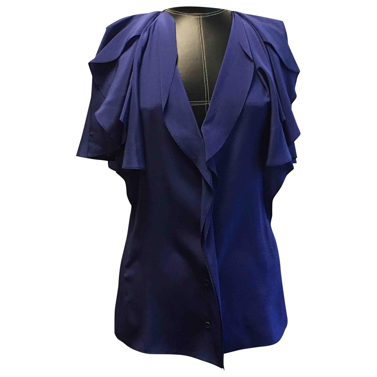 Nina Ricci - Top   pour femme en soie - bleu