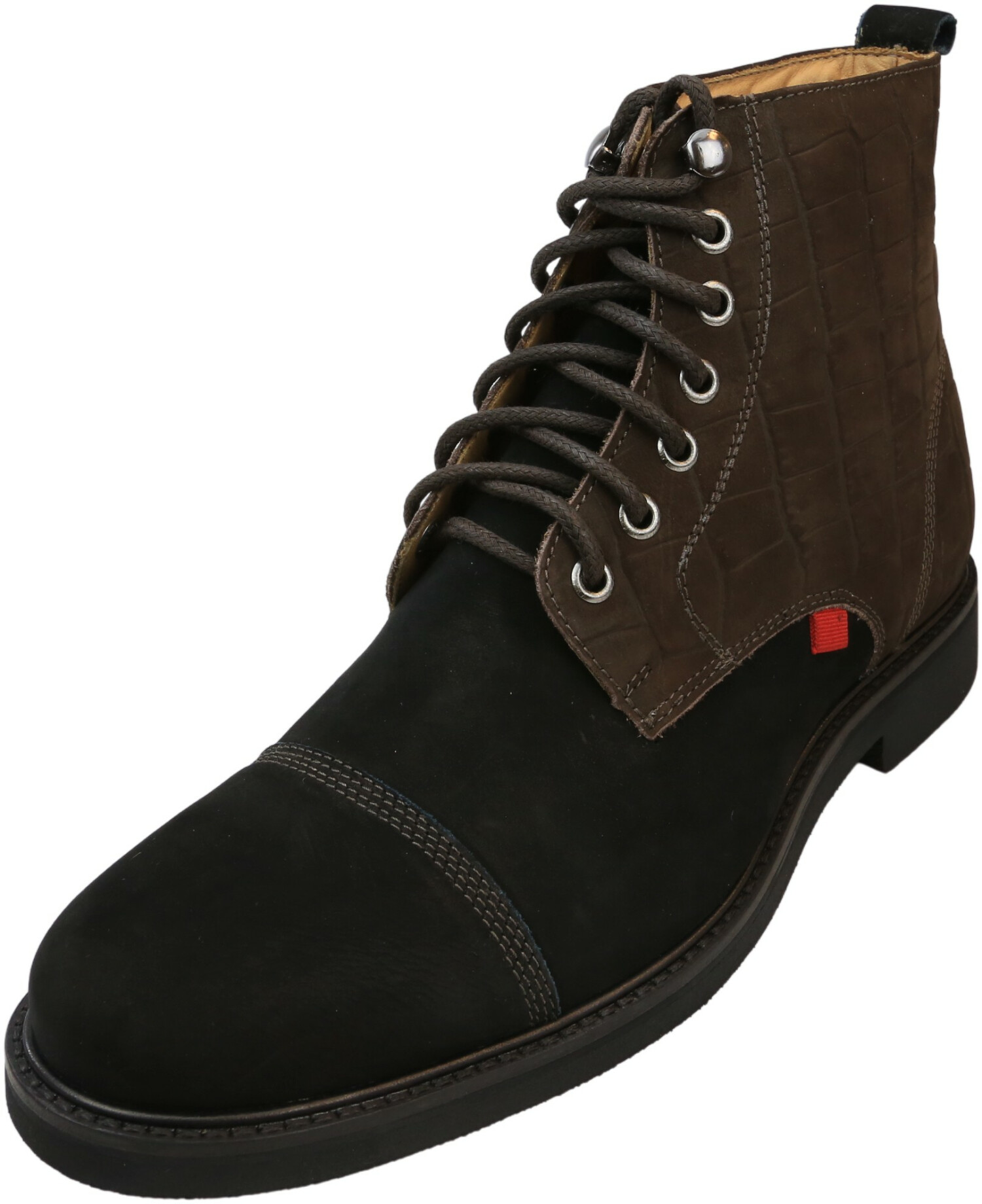 Marc Joseph New York Men's Lincoln Black Nobuck / Brown Reptile Ankle-High Leather Oxford & Derby - 7M