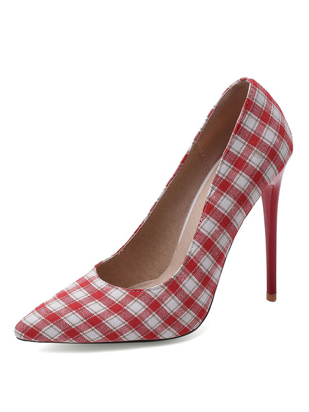 Milanoo Zapatos de tacon de aguja de lona a cuadros con punta en punta para mujer