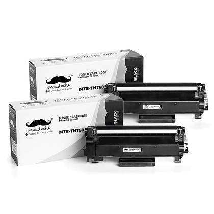 Compatible Brother TN760 cartouche de toner noire avec chip à haut rendement de marque Moustache, 2 paquet
