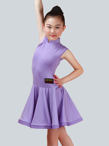 Milanoo Dance Costumes Latin Dancer Dresses Kids Lilac Little Girls Ballroom Dancing Wears Halloween