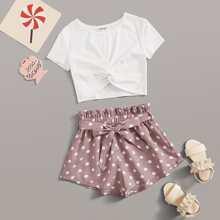 Girls Twist Hem Top and Paperbag Waist Shorts Set