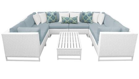 Miami MIAMI-09a-SPA 9-Piece Wicker Patio Furniture Set 09a with 4 Corner Chairs  4 Armless Chairs and 1 Coffee Table - Sail White and Spa