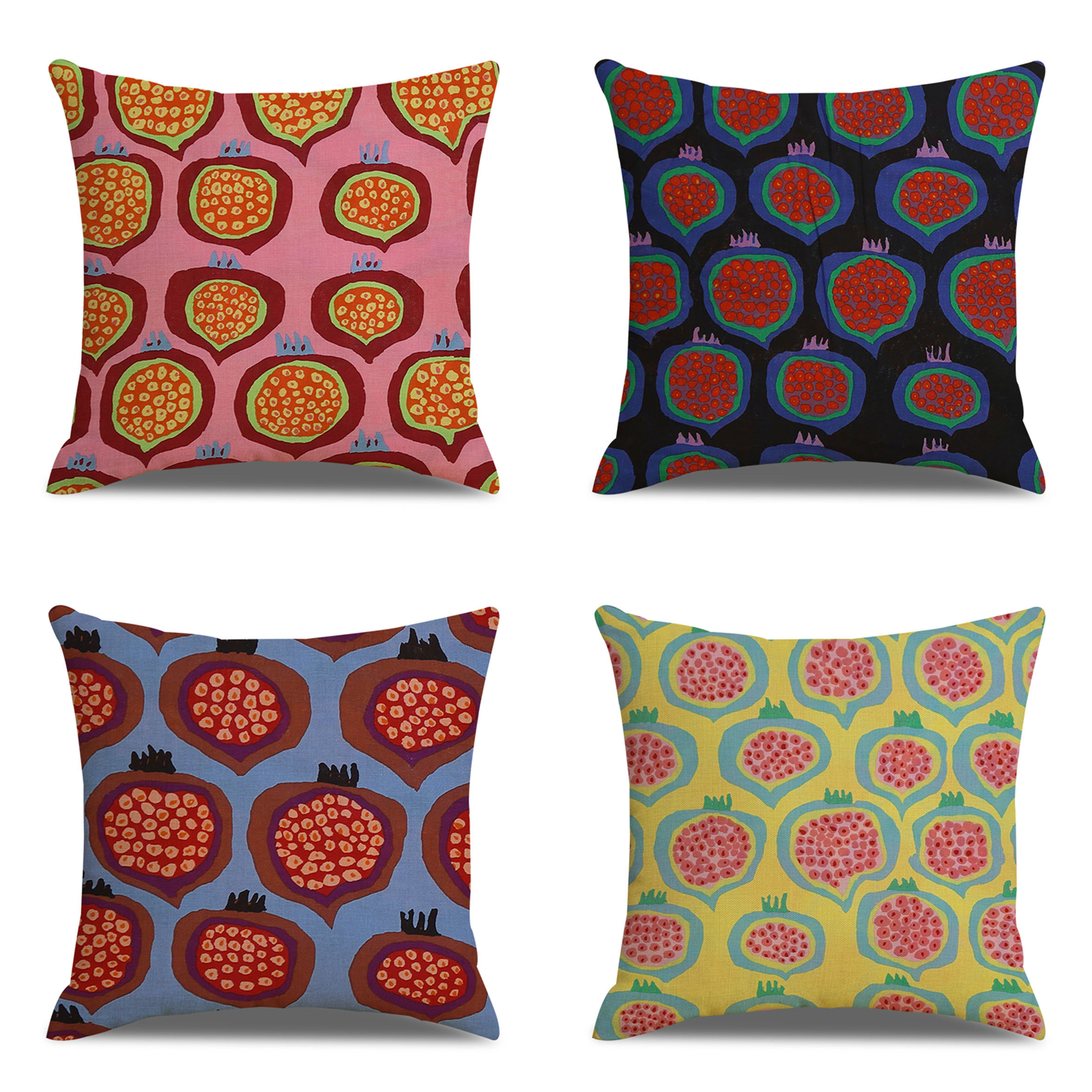 Red Pomegranate Pattern Linen Cotton Cushion Cover Home Bedroom Sofa Art Decor Throw Pillowcases