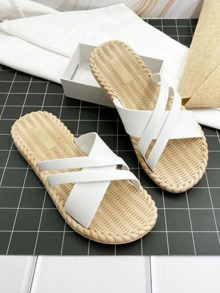 Milanoo Zapatillas de sandalia Diapositivas de sandalia de playa de PVC con punta redonda verde superior