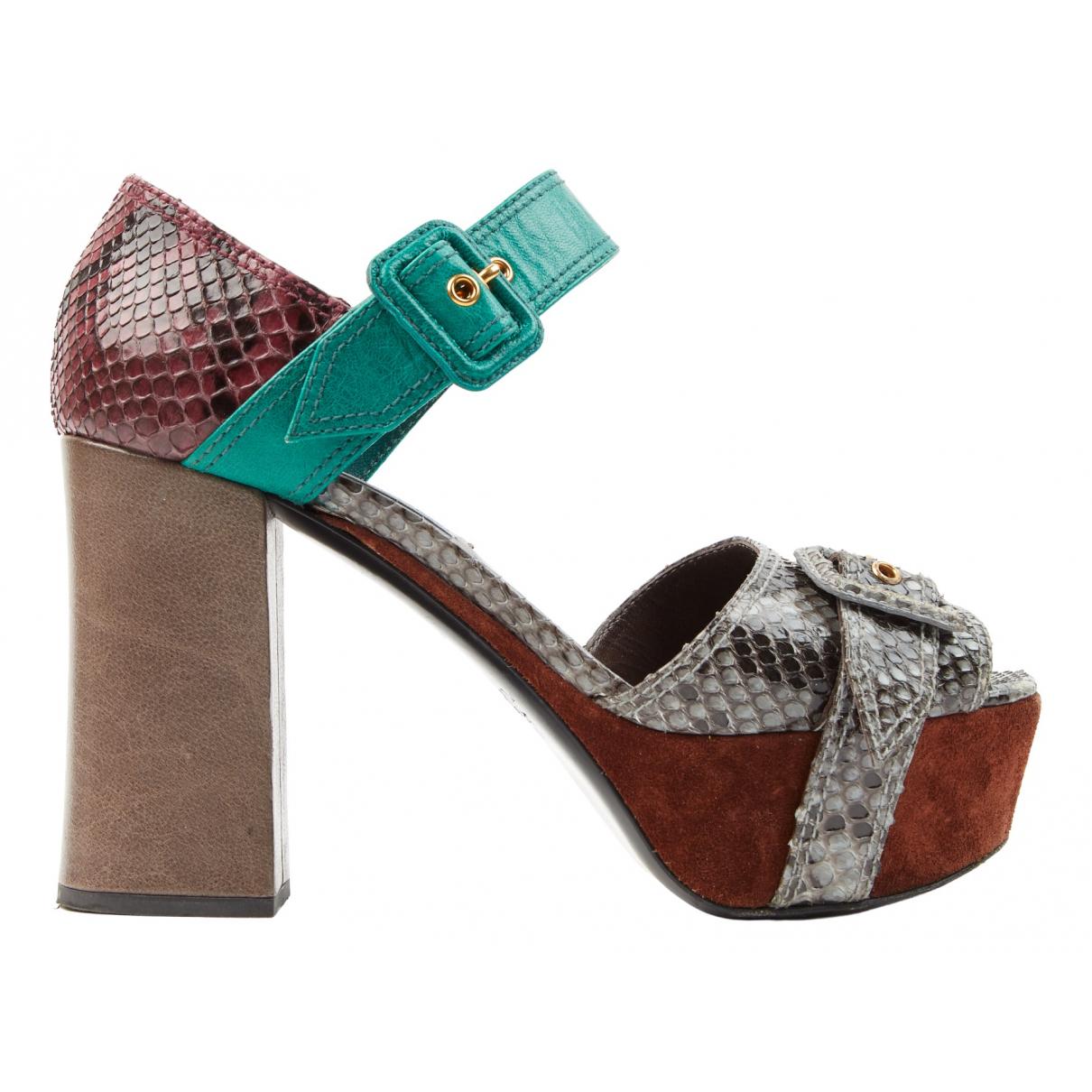 Prada N Multicolour Python Sandals for Women 38 IT