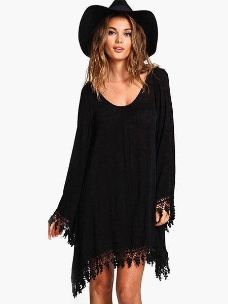 Milanoo Shift Dress Women Oversized Black Long Sleeves Chiffon Lace Dress