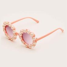 Girls Faux Pearl Decor Acrylic Frame Sunglasses
