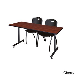 Regency Seating Kobe Black Wood/Laminate/Metal 66-inch x 24-inch Training Table and 2 'M' Stack Chairs (Cherry)