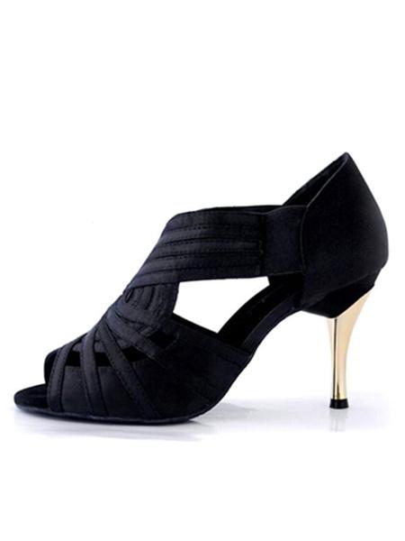 Milanoo Zapatos de bailes latinos de punter Peep Toe de tacon de stiletto de saten para baile