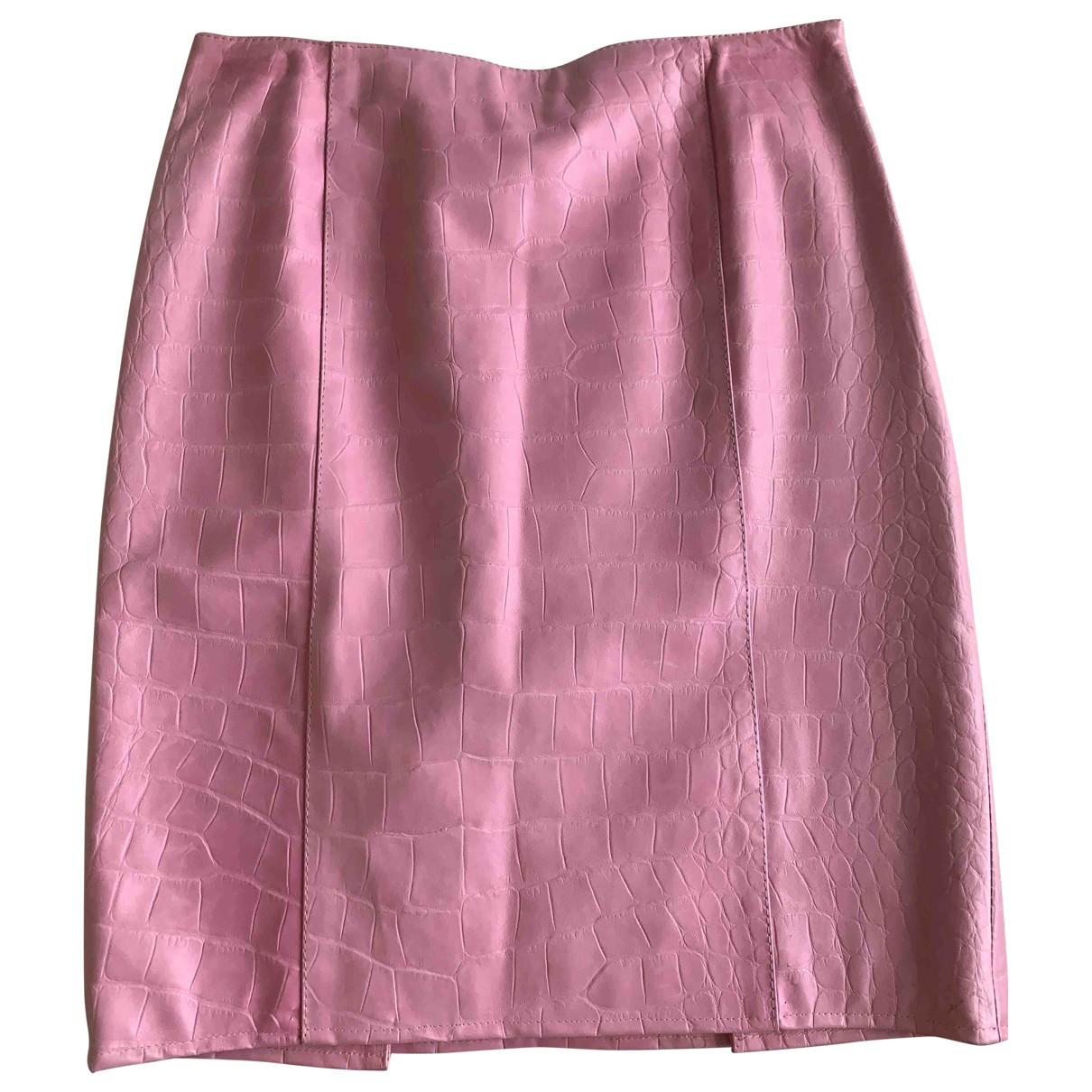 Valentino Garavani \N Pink Leather skirt for Women 40 IT