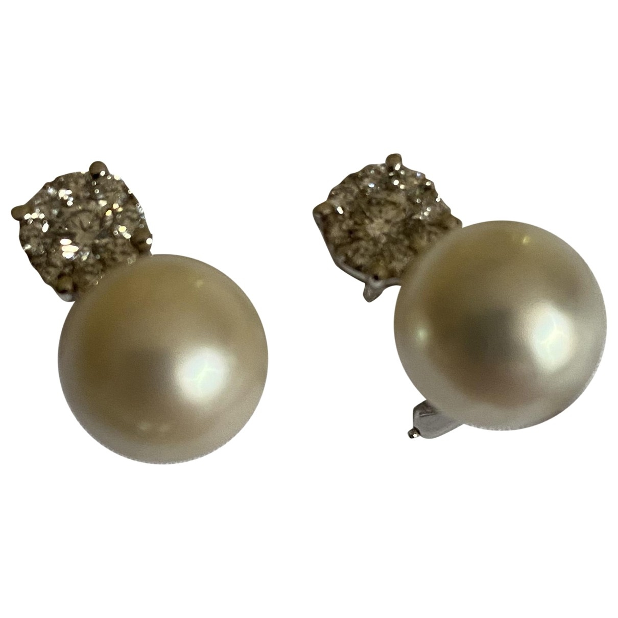 - Boucles doreilles Nacre pour femme en or blanc - blanc