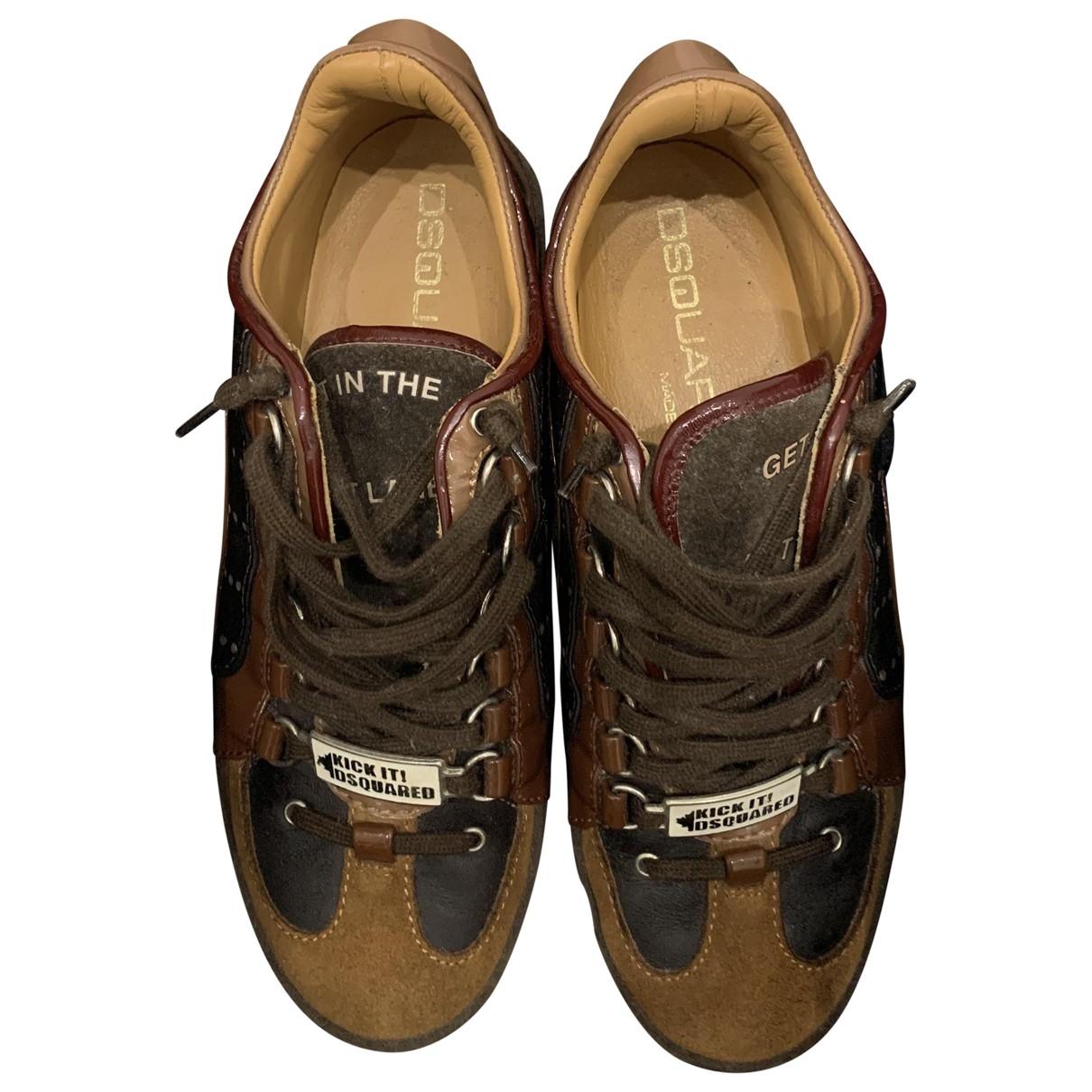 Dsquared2 - Baskets   pour homme en cuir - marron