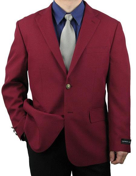 Men's Single Breasted Burgundy Classic 2 Button Blazer