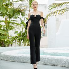 Adyce Pearls Straps Knot Side Flare Leg Jumpsuit