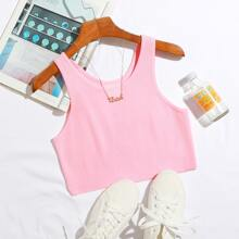 Solid Crop Knit Tank Top