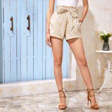 Paperbag Waist Belted Pocket Patch Shorts