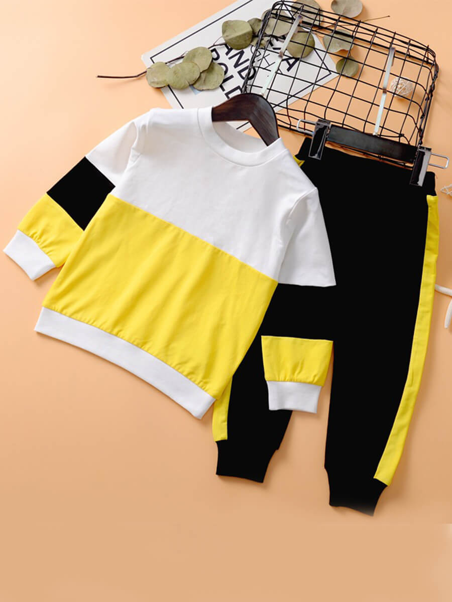 LW Lovely Sportswear O Neck Patchwork Yellow Two Piece Pants Set