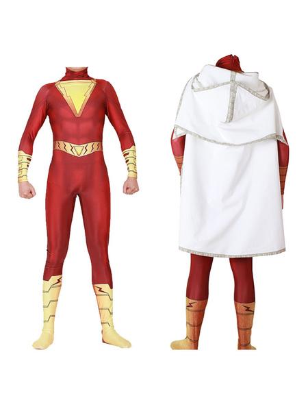 Milanoo DC Comic Cosplay Captain Marvel Shazam Red Cosplay Zentai Jumpsuit With Cloak Halloween