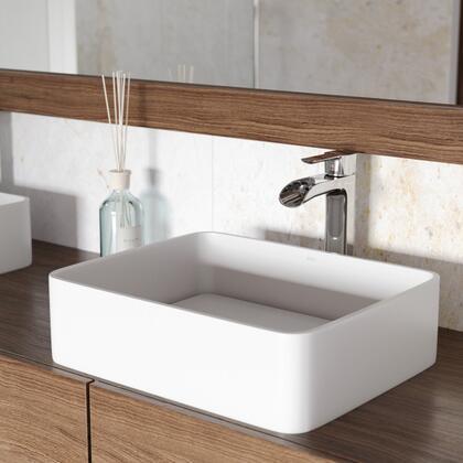 Jasmine Collection VGT1262 Matte Stone Vessel Bathroom Sink Set With Niko Vessel Faucet in