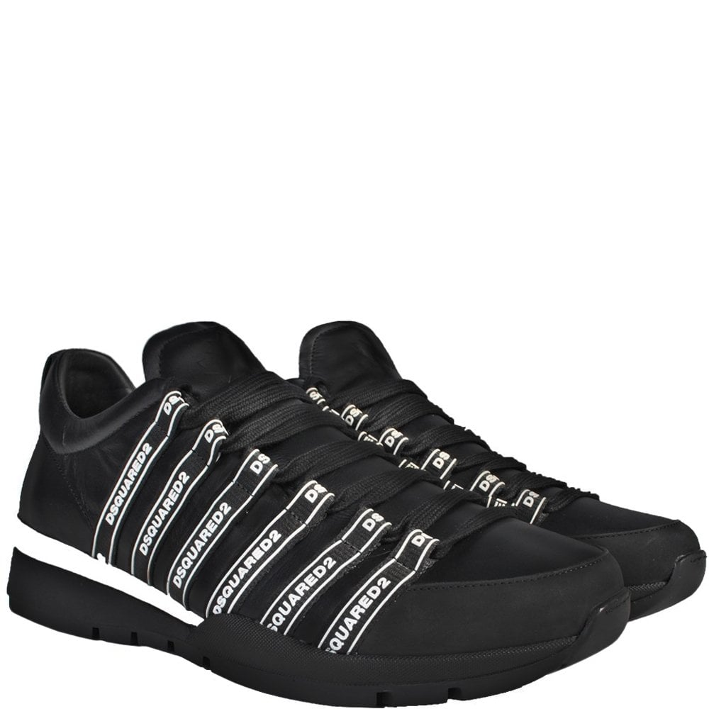 Dsquared2 Dsquared Logo Lace-Up Low Top Sneakers Colour: BLACK, Size: 6