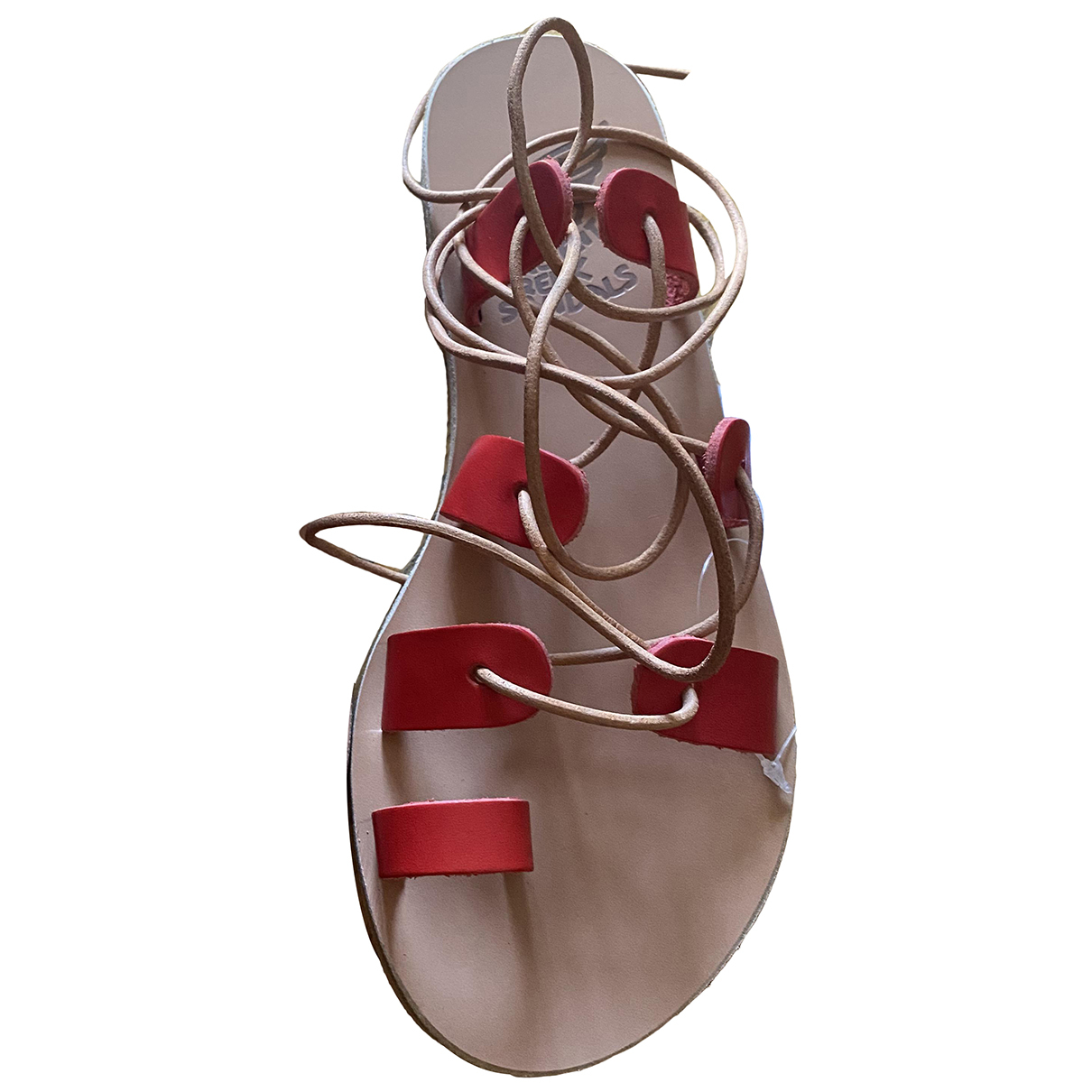 Ancient Greek Sandals \N Red Leather Sandals for Women 37 EU