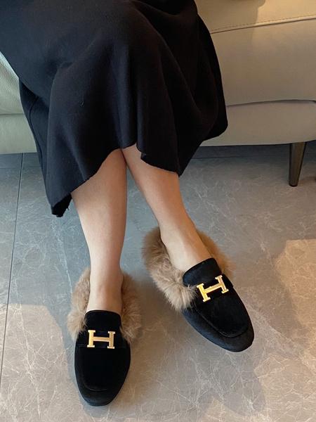 Milanoo Mocasines negros de mula Zapatos de mula con detalle de piel de metal con punta redonda