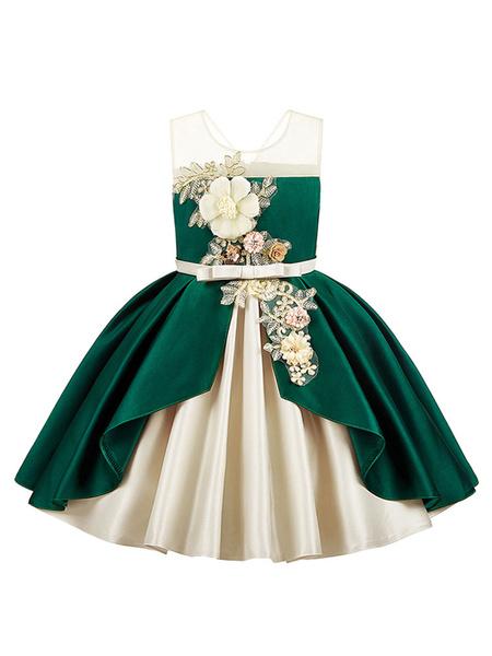 Milanoo Flower Girl Dresses Jewel Neck Polyester Sleeveless Knee Length Ball Gown Bows Kids Party Dresses