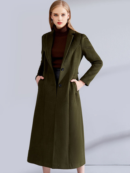 Milanoo Hunter Green Coat Long Sleeve Notch Collar Women's Wool Coats
