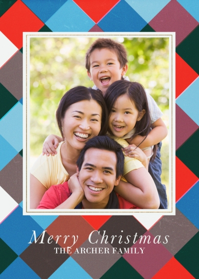 Christmas Photo Cards 5x7 Cards, Premium Cardstock 120lb with Scalloped Corners, Card & Stationery -Christmas Patchwork